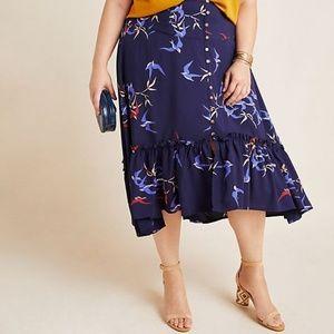 Anthropologie Plus Sized Merida Floral Midi Skirt